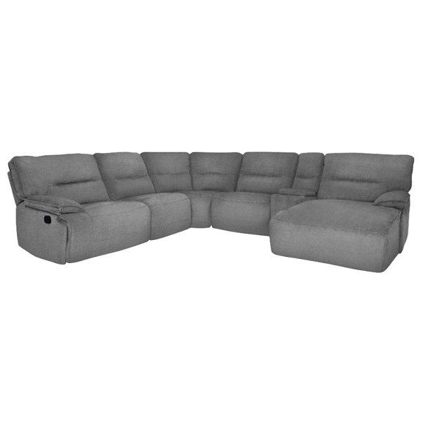 Комфортен ъглов диван с релакс механизми и бар функция, цвят камък