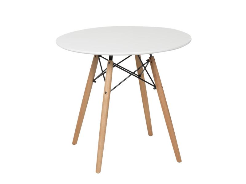 Бяла кръгла трапезна маса в скандинавски стил