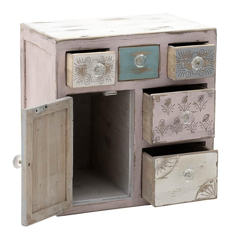 Малък дървен шкаф Shabby Chic - отворен