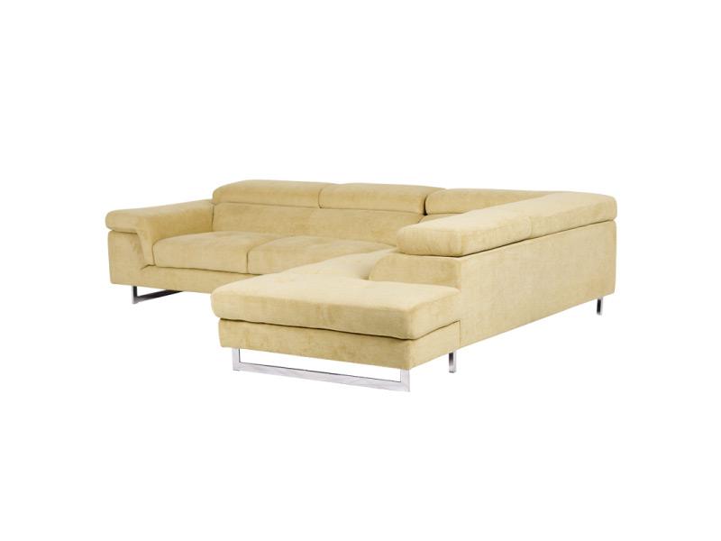 Светлобежов ъглов диван с регулиеруеми подглавници - снимка отстрани