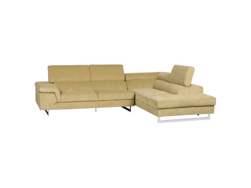 Светлобежов ъглов диван с регулиеруеми подглавници