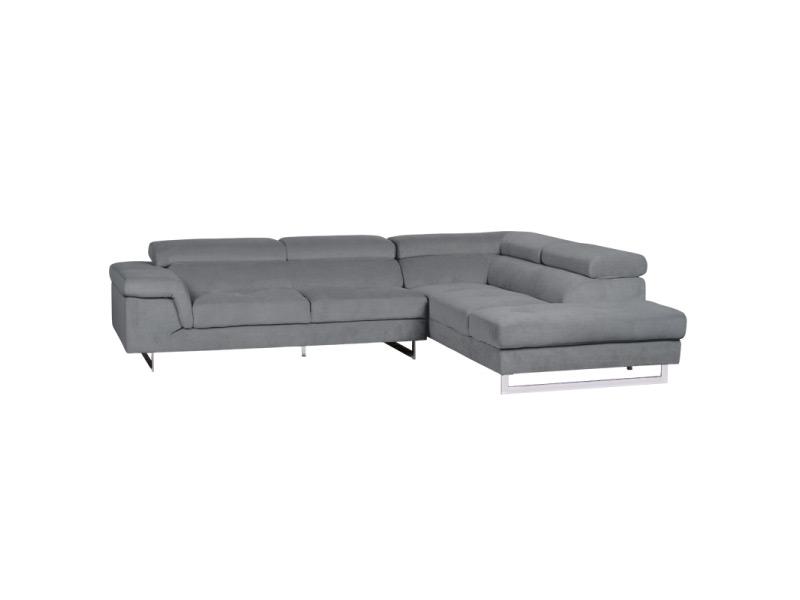 Син ъглов диван с регулируеми подглавници (3 цвята)