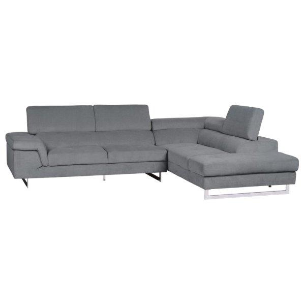 Светлосив ъглов диван с регулируеми подглавници