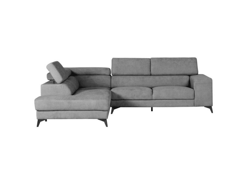 Сив ъглов диван с регулируеми подглавници и странично отделение