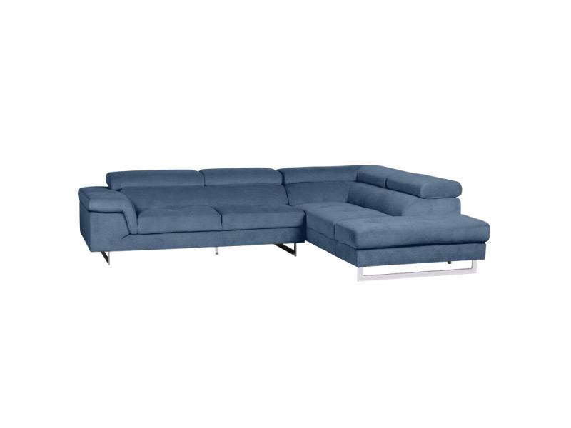 Син ъглов диван със свалени подглавници
