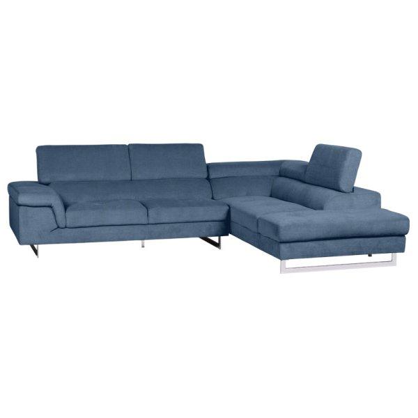 Син ъглов диван с регулируеми подглавници