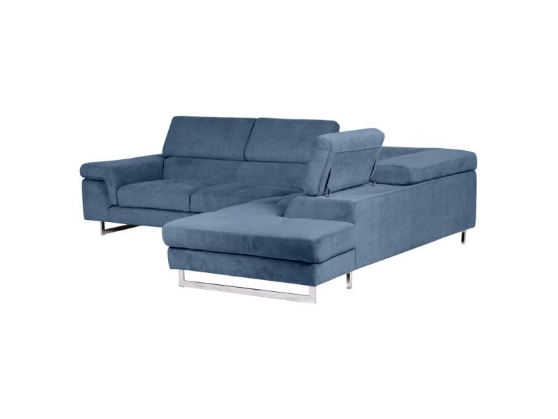 Син ъглов диван с вдигнати подглавници