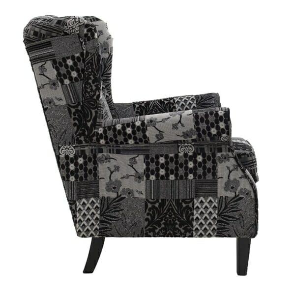 Текстилно кресло Patchwork Grey - отстрани