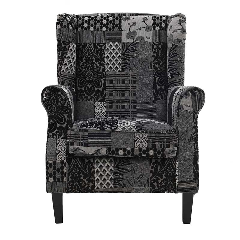 Текстилно кресло Patchwork Grey - отпред