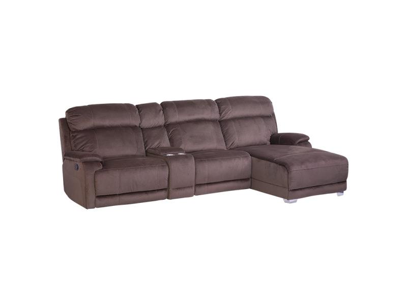 Тъмно кафяв ъглов диван с релакс механизъм и бар функция за 2 чаши