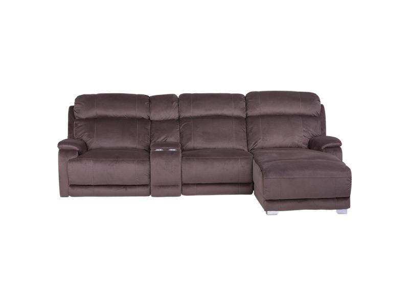 Тъмно кафяв ъглов диван с релакс механизъм, подлакътник с място за съхранение и бар функция