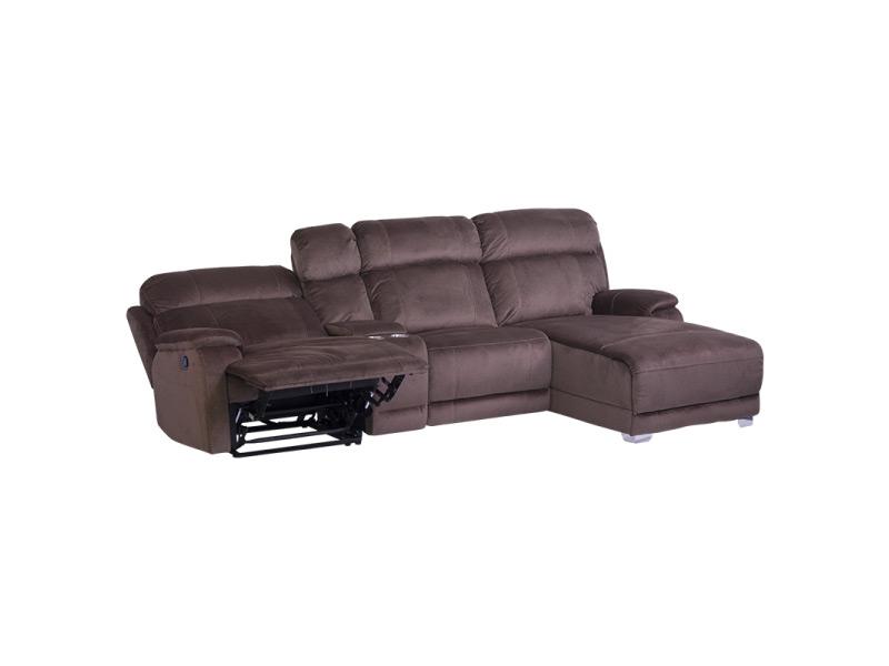 Тъмно кафяв ъглов диван с релакс механизъм и бар функция