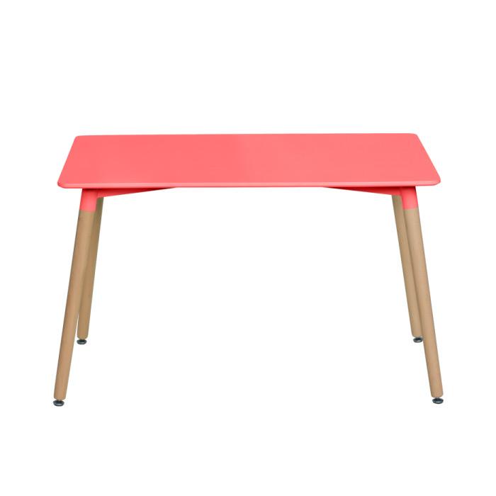 Червена правоъгълна трапезна маса в скандинавски стил