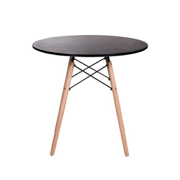 Черна кръгла трапезна маса в скандинавски стил Scandi 01-снимка отстрани