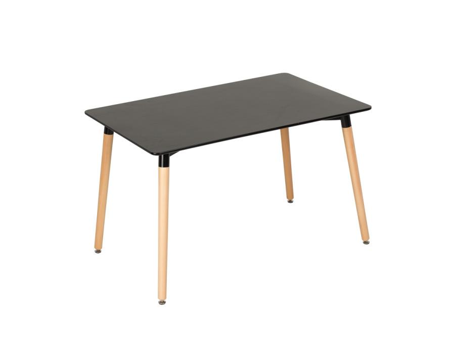 Черна правоъгълна трапезна маса в скандинавски стил