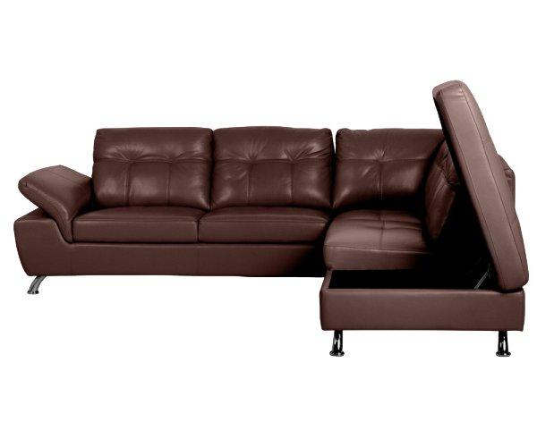 Ъглов диван от естествена кожа с отворена ракла