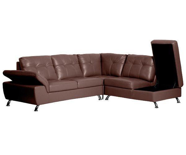 Ъглов диван от естествена кожа с отворена ракла и вдигнат подлакътник