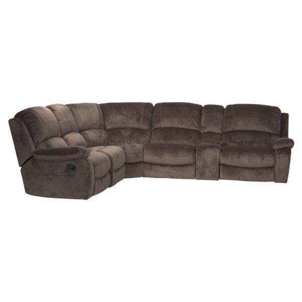 Голям ъглов диван с бар функция и механизми, цвят трюфел
