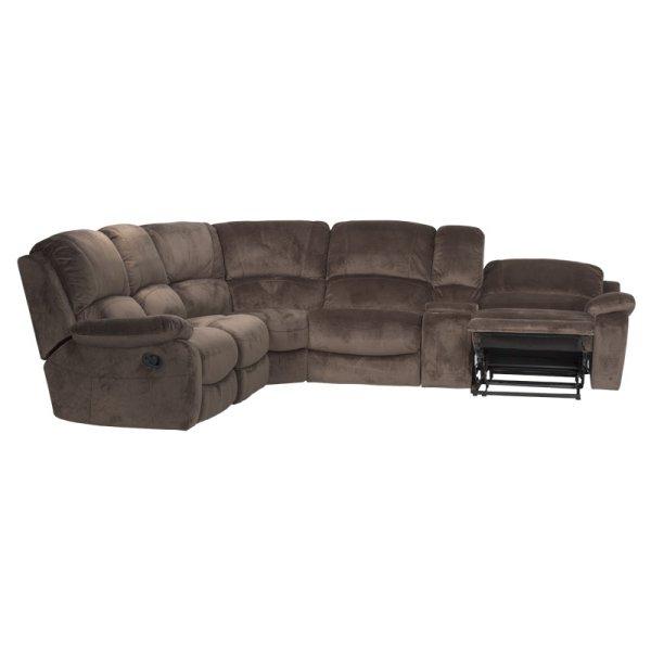 Ъглов диван с бар функция и релакс механизъм в действие