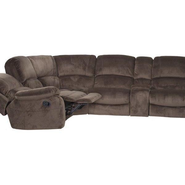 Ъглов диван с бар функция и механизми, цвят трюфел