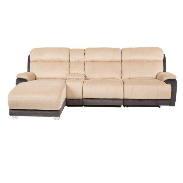 Ъглов диван с релакс механизъм и бар функция - снимка отпред