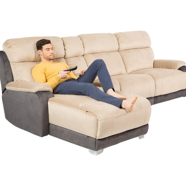 Ъглов диван с релакс механизъм и бар функция, с мъж върху него