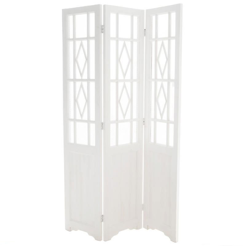 Бял декоративен дървен параван