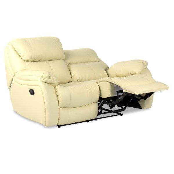 Двоен диван от естествена кожа с релакс механизми, цвят шампанско, с вдигнат механизъм-1