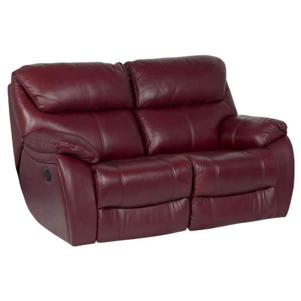Двоен диван от естествена кожа с релакс механизми, цвят вишна