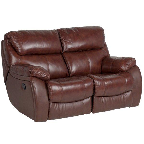 Двоен диван от естествена кожа с релакс механизми, цвят кестен
