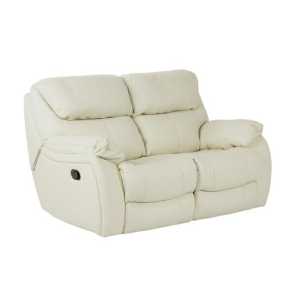 Двоен диван от естествена кожа с релакс механизми - цвят слонова кост