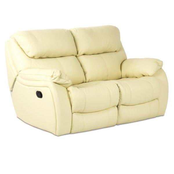 Двоен диван от естествена кожа с релакс механизми - цвят шампанско