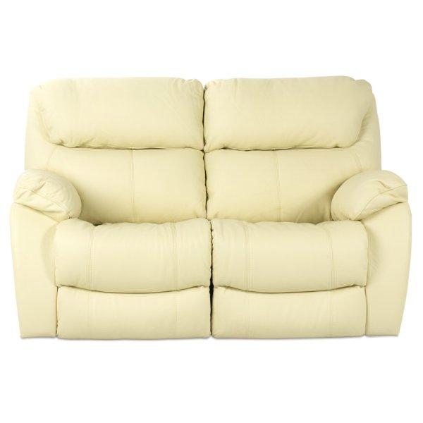 Двоен диван от естествена кожа с релакс механизми - цвят шампанско, отпред