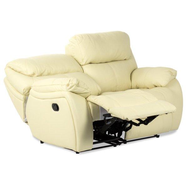 Двоен диван от естествена кожа с релакс механизми, цвят шампанско, с вдигнат механизъм