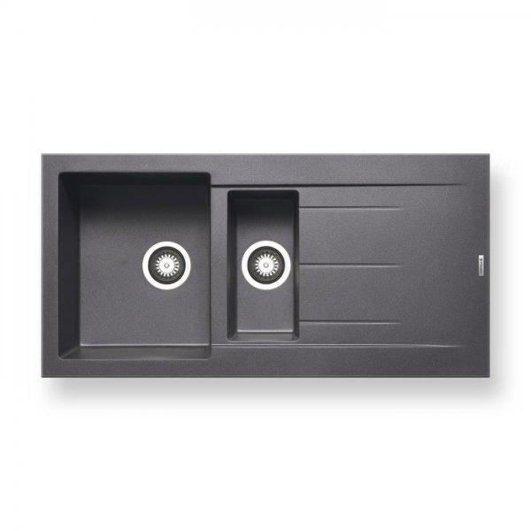 Тъмно сива двойна мивка за кухня от гранит Pyramis Alazia - цвят метално сиво