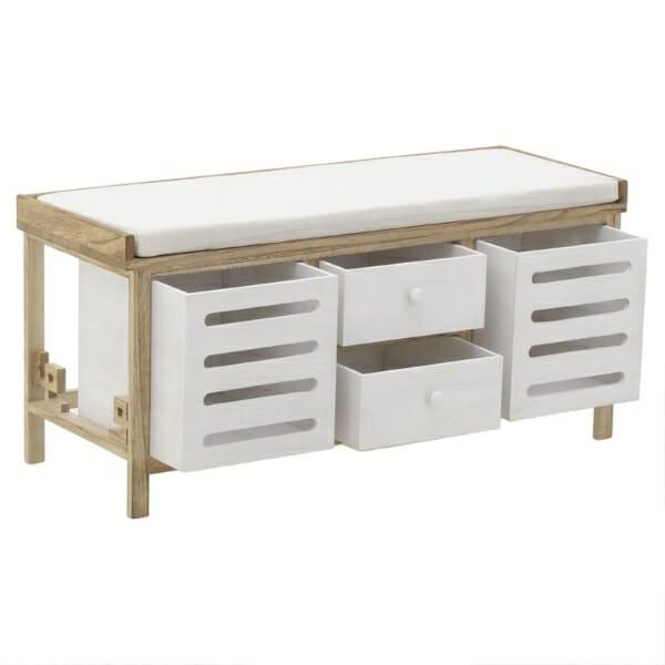 Дървена пейка за антре с 4 чекмеджета с различен размер - снимка отворени чекмеджета