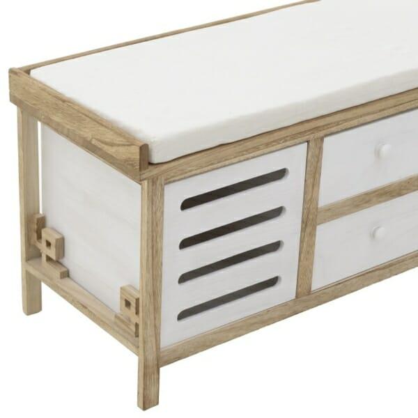Дървена пейка за антре с 4 чекмеджета с различен размер - снимка отблизо