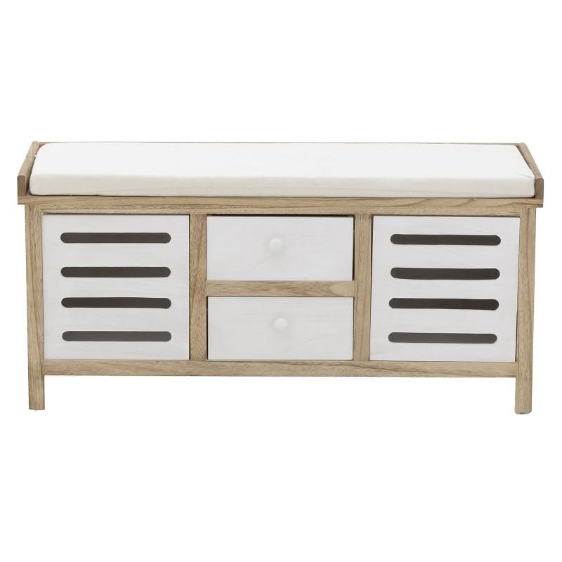 Дървена пейка за антре с 4 чекмеджета с различен размер-отпред