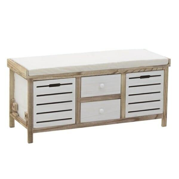 Дървена пейка за антре с 4 чекмеджета с различен размер