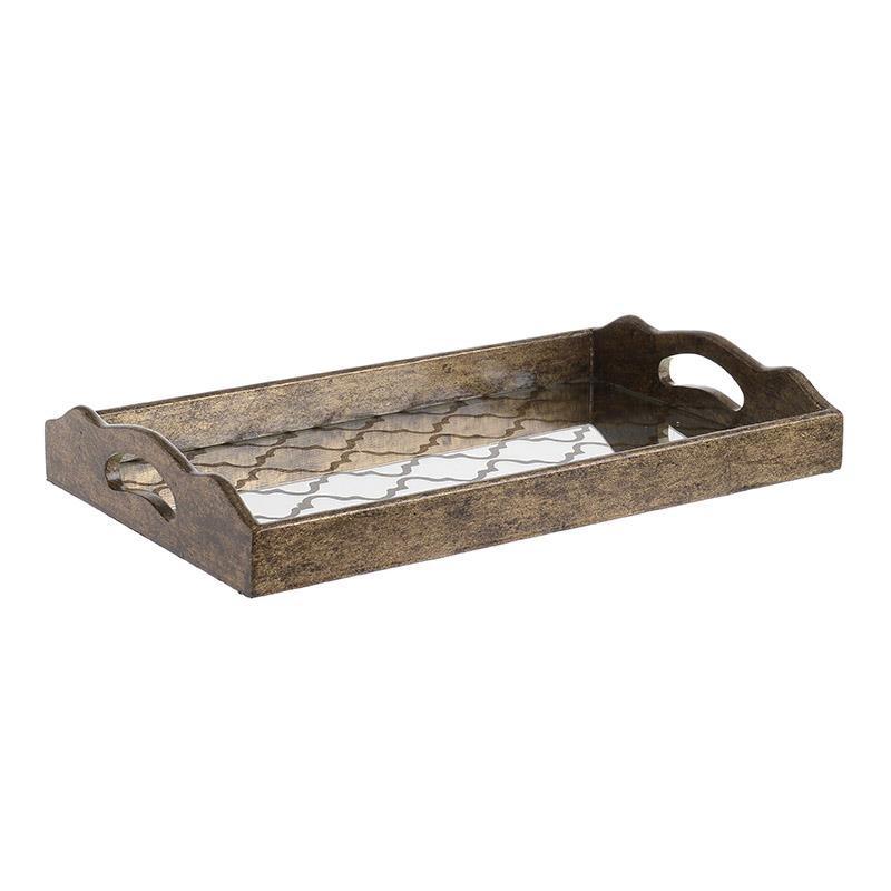 Дървен поднос със стъклен плот в 2 размера