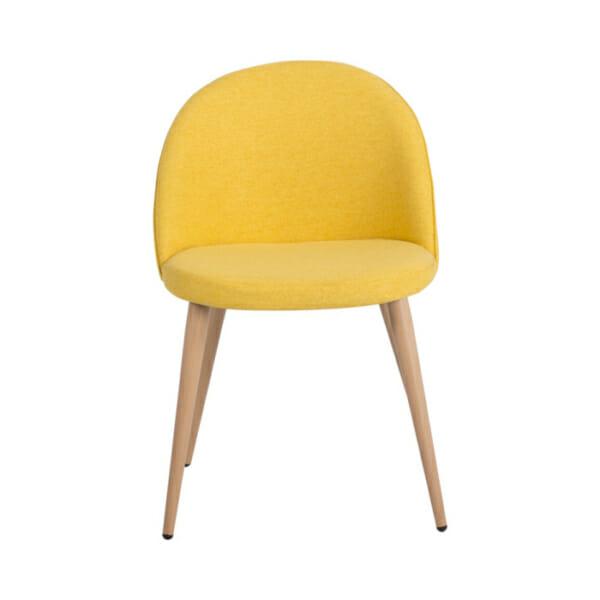 Жълт трапезен стол с метални крака имитиращи дърво Scandi 010-отпред