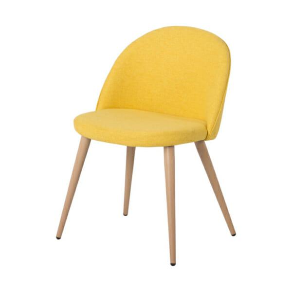 Жълт трапезен стол с метални крака имитиращи дърво Scandi 010 - снимка отстрани