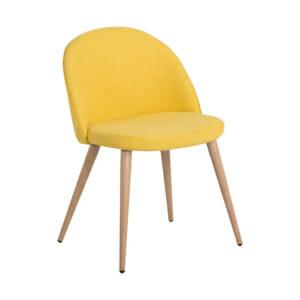 Жълт трапезен стол с метални крака имитиращи дърво Scandi 010