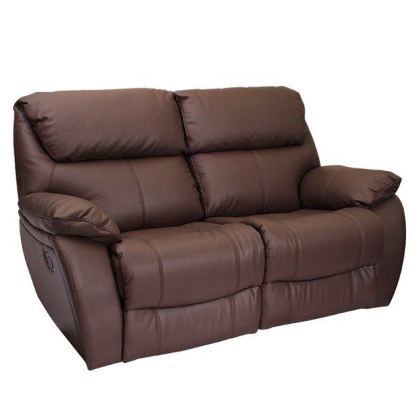 Кафяв двоен диван от естествена кожа с релакс механизми