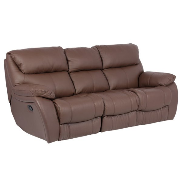 Кафяв троен диван от естествена кожа с релакс механизми, серия Сандра