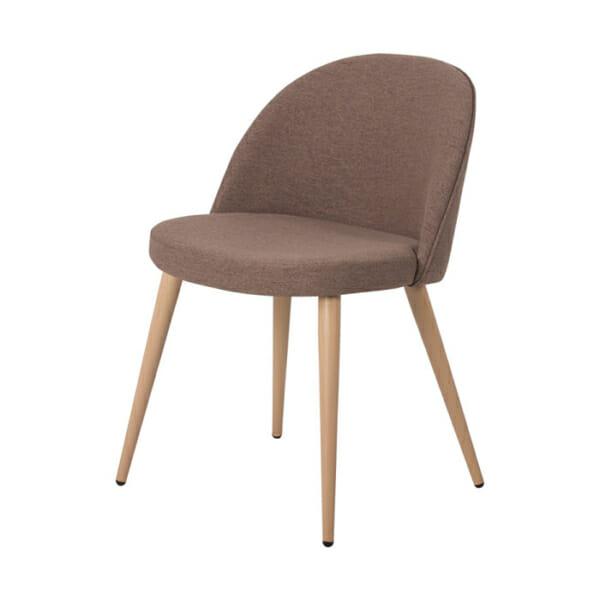 Кафяв трапезен стол с метални крака имитиращи дърво Scandi 010