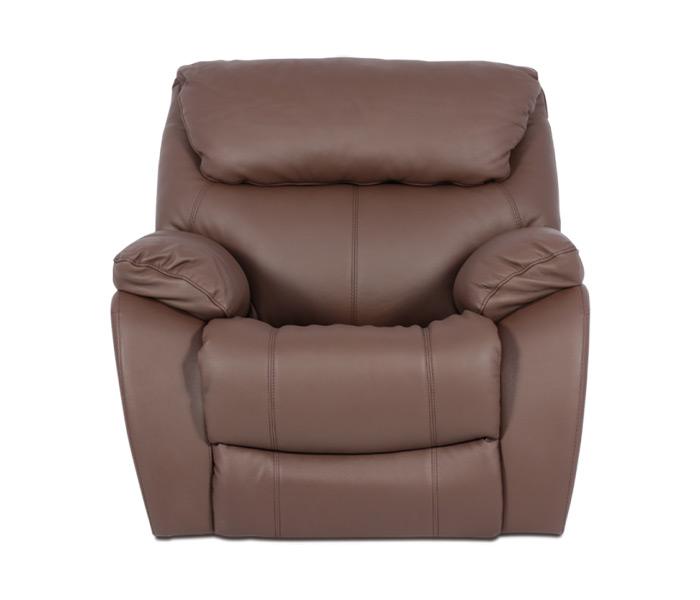 Кафяв фотьойл за хол от естествена кожа, с релакс механизъм серия Сандра - снимка отпред