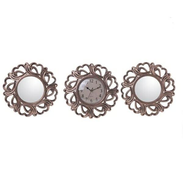 Комплект часовник и огледала в бронзов цвят