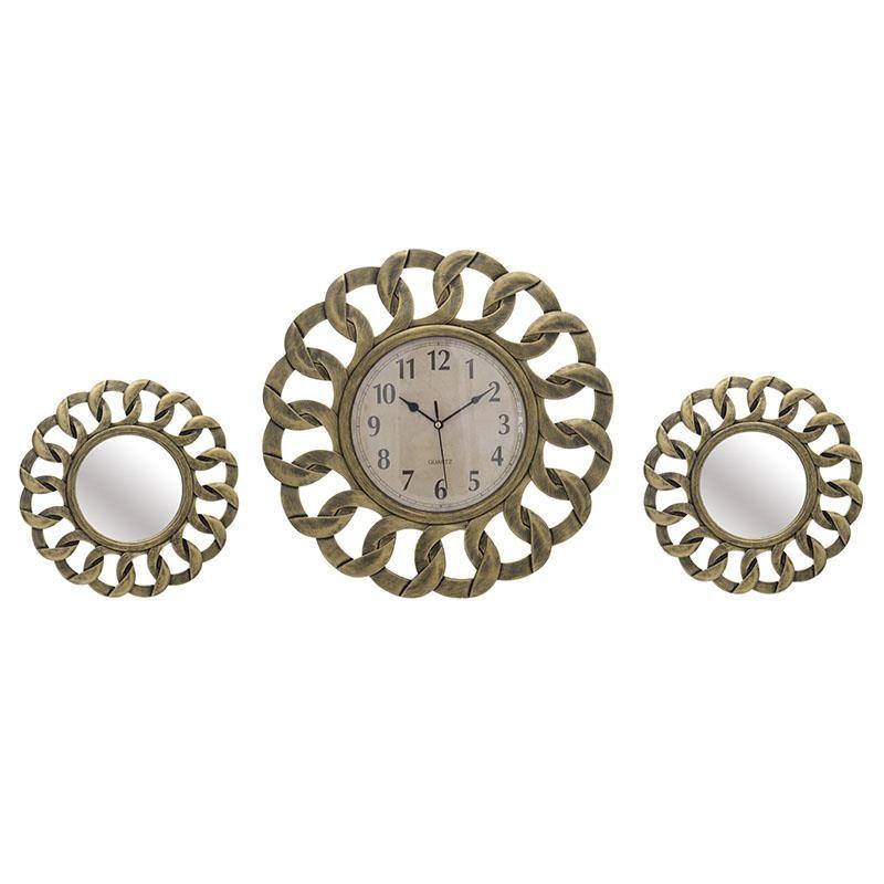 Комплект часовник и огледала в златно