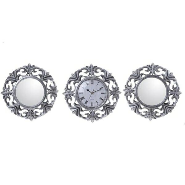 Комплект часовник и огледала в сребристо